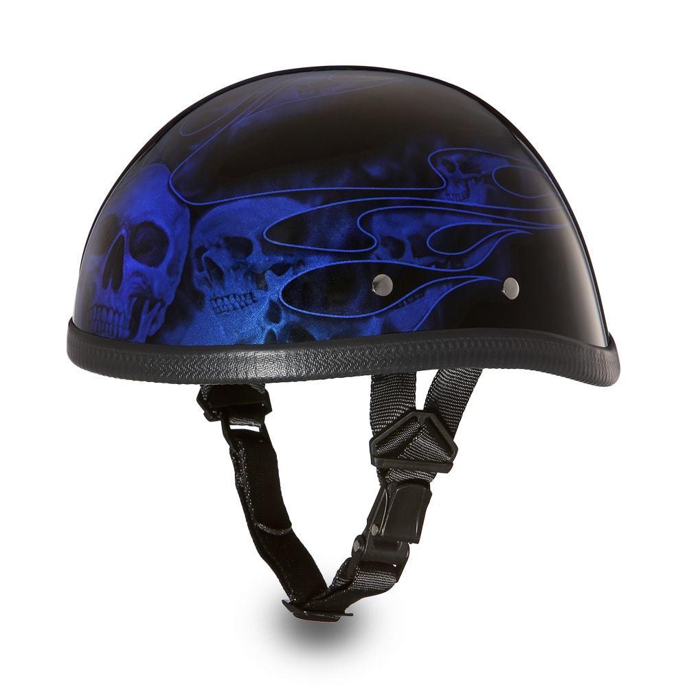 Daytona Skull Cap EAGLE-W  FLAMES BLUE Chopper Bike Motorcycle ... 5e6e9df0be8