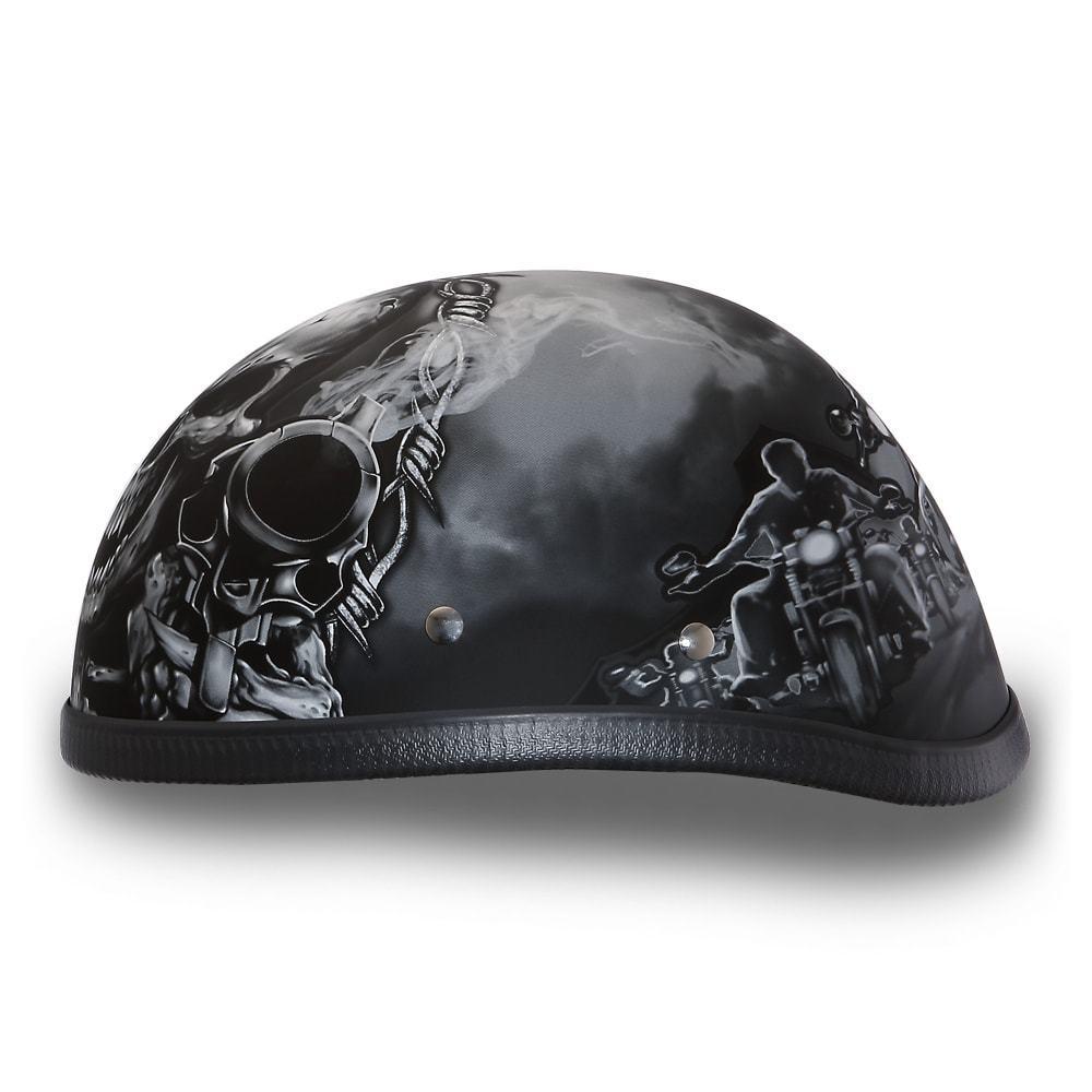 e661d740 Daytona Helmets Novelty Skull Cap EAGLE- W/ GUNS Vintage Motorcycle ...