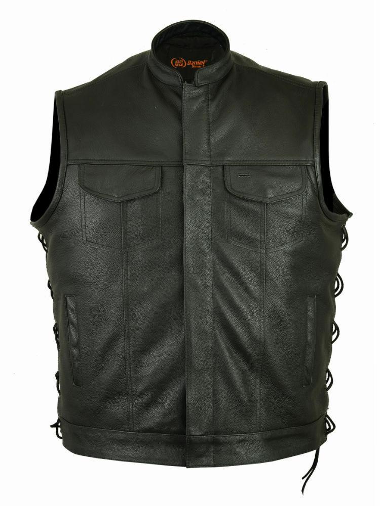 Motorcycle Vest Naked Cowhide Hidden Zipper Men Leather -7533
