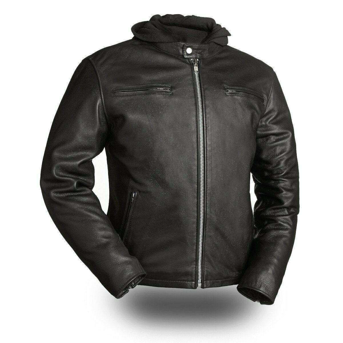 Men Biker Leather Street Cruiser Drum Dye Naked Cowhide -8449